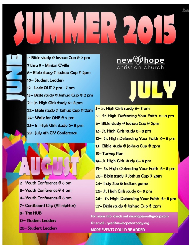 2015 youth summer calendar
